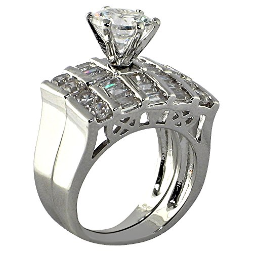 Lattice Round-shape 4.5 Ct. Cubic Zirconia Cz Bridal Engagement Wedding 2 Piece Ring Set (Center Stone Is 2 Cts)