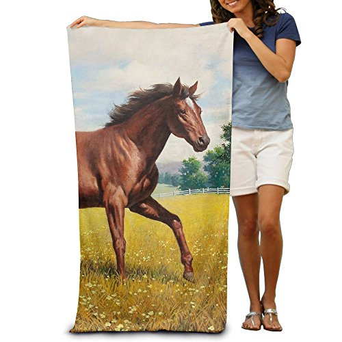 "DWN Bath Towels Horse Grass 32""x51"" Premium Towel Blanket Su"