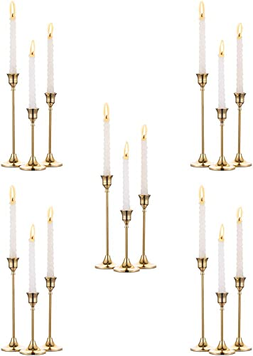 Nuptio 5 Sets 15 Pcs Brass Gold Metal Taper Candle Holders Candlestick Holder
