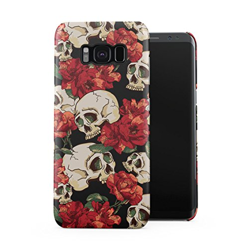 Grunge Skeleton Skulls Pattern Roses Wildflower Floral Hipster Plastic Phone Snap On Back Case Cover Shell for Samsung Galaxy S8 Plus