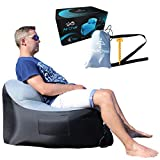 Treadway Air Chair by Rapid inflation, compact/lightweight, inflatable air filled beach/camping chair - Ideal for festivals, gaming, fishing, dorm room, bedrooms & travel. (Gray/Black)