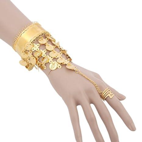 ベリーダンス用アクセサリー 腕飾り 手首 インドダンス リング付 コイン付 ブレスレット 小物 ゴールド