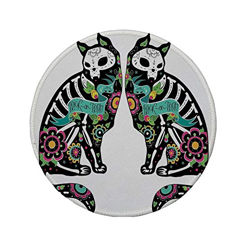 Non-Slip Rubber Round Mouse Pad,Day of The Dead Decor,Skeleton Cats Festive Celebration Spanish Art Print,Black White Turquoise Pink,7.87