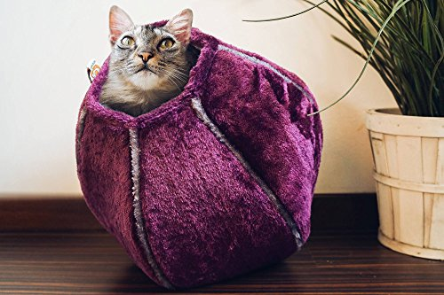United Pets Kitty Cat Cozy Cave & Bed (Purple) by United Pets (Image #1)