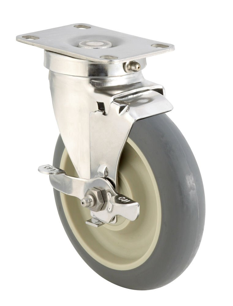 E.R. Wagner Plate Caster, Swivel with Strap Brake, Dust Cover, TPR Rubber on Polyolefin Wheel, Stainless Steel Plate, Delrin Bearing, 250 lbs Capacity, 4'' Wheel Dia, 1-1/4'' Wheel Width, 5-1/16'' Mount Height, 3-5/8'' Plate Length, 2-3/8'' Plate Width