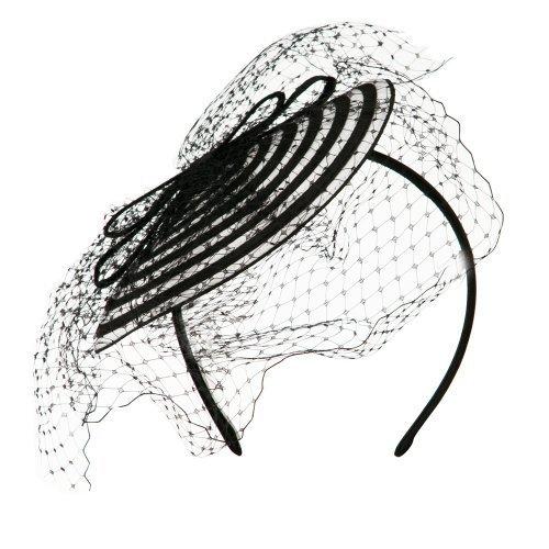 Swirl Pattern Fascinator Hat with Headband - White Black OSFM