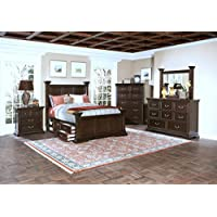 Toledo 4 Piece Storage Queen Poster Bedroom Set in Sable