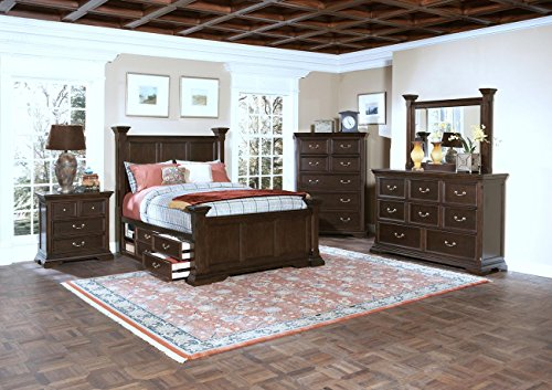 Cal King Poster Bedroom Set (Toledo 4 Piece Storage Cal King Poster Bedroom Set in Sable)