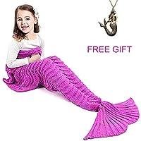 JR.WHITE Mermaid Tail Blanket for Adults, Hand Crochet...
