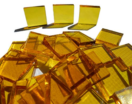 FortySevenGems 100 Pieces Stained Glass Mosaic Tiles 1/2-Inch Yellow Cathedral Glass
