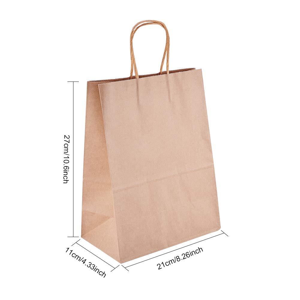 BENECREAT 20 Pack Bolsas de Regalo de Papel Kraft con Asas Compras, Mercancía,, Fiesta, Boda, Papel 100% Reciclado Marrón Natural