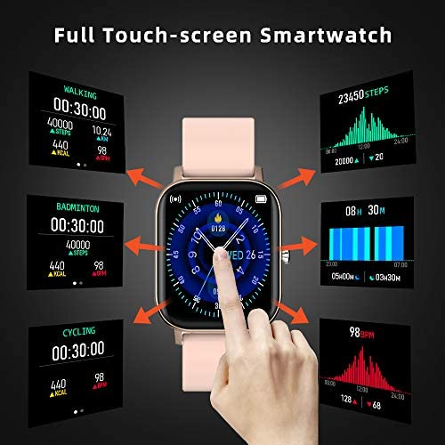 Smart Watch, FirYawee Smartwatch for Android Phones and iOS Phones Compatible iPhone Samsung,Fitness Tracker with Heart Rate Monitor,Step Counter,Smart Watches for Men Women (Light Pink)