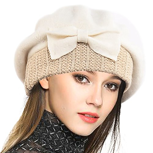 VECRY Lady French Beret 100% Wool Beret Floral Dress Beanie Winter Hat (Bow-Cream) by VECRY