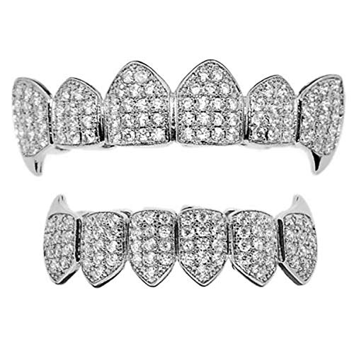 18K White Gold Plated CZ Cluster Custom Slugs Top Bottom Grillz Fangs Mouth Teeth Grills Set - Grillz, Teeth Cap, Iced Out Grillz (Bottom) (Top & Bottom Set)