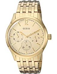 GUESS Mens Stainless Steel Casual Watch with Day, Date & 24 hr Intl Time Display, Color: Gold-Tone (Model: U0995G2)