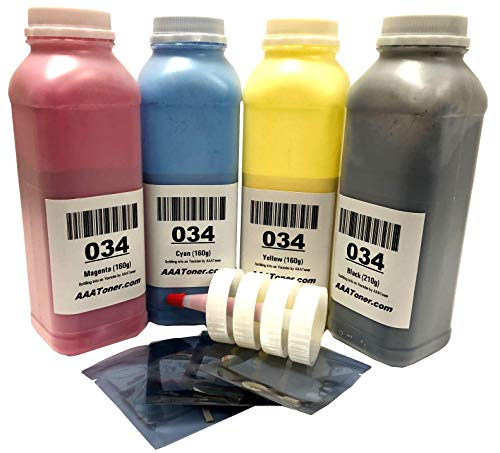 AAA Toner Refill Kit for Canon 034, Canon MF820Cdn MF810Cdn, C1225 if and 4 Reset Chips (Black, Cyan, Magenta, Yellow, 4-Pack) ()
