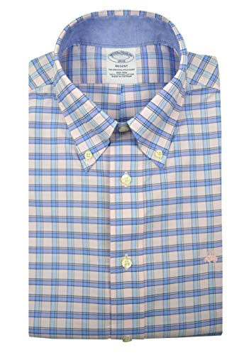 Brooks Brothers Men's Claissic Plaid Regent Fit Supima Cotton Button Down Shirt Pink Blue Multi (X-Large) from Brooks Brothers