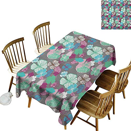 Copper Revival Collection - kangkaishi Anti-Wrinkle and Anti-Wrinkle Polyester Long Tablecloth for Weddings/banquets Tropic Accents Hawaiian Blossom Revival Plants Hibiscus Pastel Toned Illustration W54 x L108 Inch Multicolor
