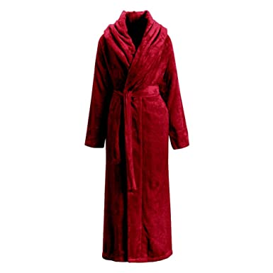 Liveinu Unisex Plush Fleece Soft Full Long Dressing Gown Bathrobe Fluffy  Nightwear Housecoat Terry Towelling Robe Bath Wrap Red EU L  Amazon.co.uk   Clothing edb9ca8b1