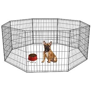 """BestPet Puppy Pet Playpen 8 Panel Indoor Outdoor Metal Protable Folding Animal Exercise Dog Fence,24"""",30"""",36"""",42"""",48"""" 17"""