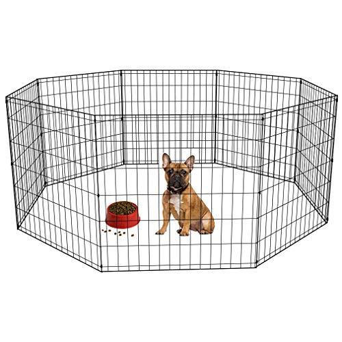 BestPet 24 Tall Foldable Dog Playpen Crate Fence Pet Kennel Play Pen Exercise Cage 8 Panel ()