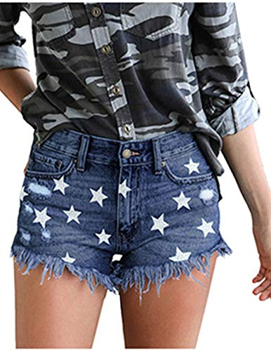 LilyCoco Women's Juniors Mid Rise Ripped Denim Shorts Stretchy Frayed Distressed Jeans (X-Large, Stars-Blue) ()