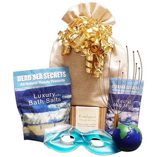 Premier Dead Sea Relaxation Bath & Body Spa Gift Set: Dead Sea Salts with Lavender, Dead Sea Mud Mask, Eucalyptus Oil Tea Tree Oil Soap, World Stress Ball, Scalp Massager Tool, & Soothing Gel Eye Mask