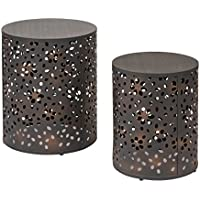 Office Star Middleton 2 Piece Round Accent Tables Set, Rustic Metal Finish