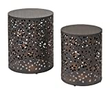 Cheap Office Star Middleton 2 Piece Round Accent Tables Set, Rustic Metal Finish