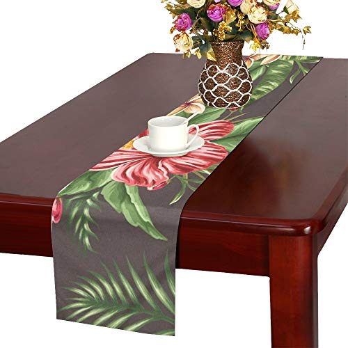 Tropical Floral Plumeria Hibiscus Table Runner, Kitchen Dining Table Runner 16 X 72 Inch for Dinner Parties, Events, Decor]()