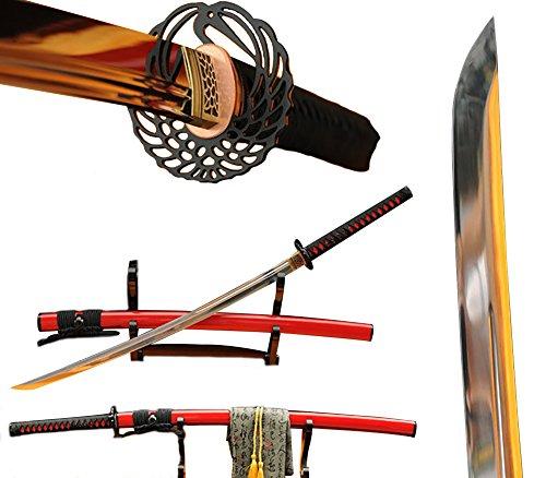 Spring Steel Katana (Lyuesword Japanese Handmade Samurai Katana Sword Full Tang 9260 Spring Steel Blade Katana Sword Real)