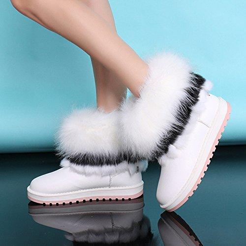 Blockabsatz Boots mit Stiefeletten Weiß Damen Schuhe Dayiss Chelsea XwBqH4UZ