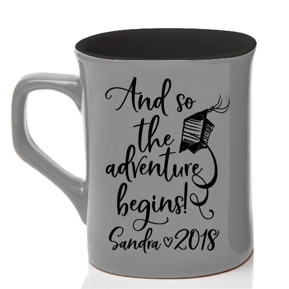 Personalized Coffee Mug College/High School Graduation Gifts For Him Her Men Women  And so The Adventure Begins Mug Ceramic 10oz - 7 Different Colors - Personalize with Name Date Year #C22