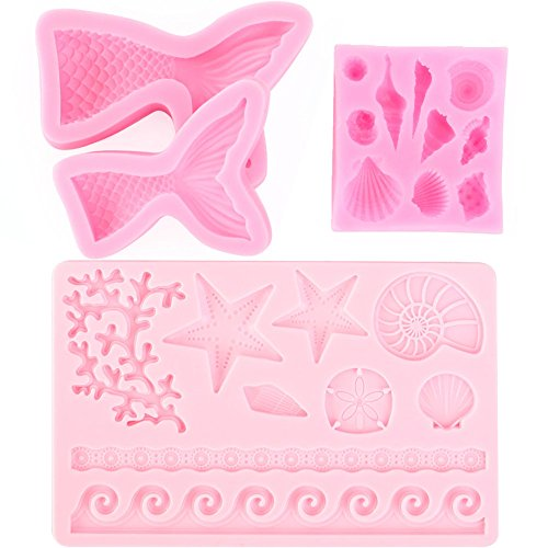 Scivokaval Ocean Sea Life Theme Cute Seashell Mermaid Tail Silicone Baking Chocolate Fondant Soap Candy Cake Decor Jelly Sugarcraft Gumpaste Pastry Clay Making Ice Cube Tray Fimo Molds Set of -