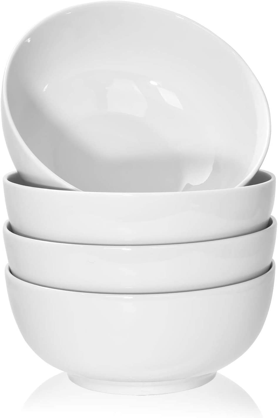 TGLBT 40 Ounce Porcelain Soup Bowls - 4 Packs, Stackable Round, White
