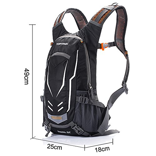 TOPTREK Cycling Backpack Waterproof Bike Pack for Men and Women Mountain/Road/Street Bike with Helmet Net and Rain Cover