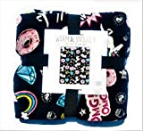 Warm & Snuggly Emoji Icon Throw Blanket 50 x 60 inch Travel Blanket with (Unicorns,Donuts,Rainbows,Diamonds and More)