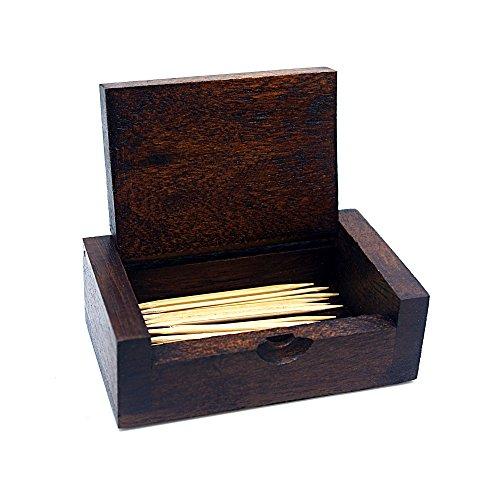 Natural Handmade Teak Wood Portable Toothpick Holder Mini Wood Box Terya Pocket Toothpick Holder