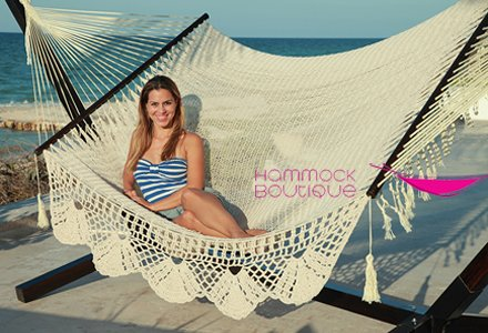 Cotton Mayan Hammock (American De Luxe Style Mayan Hammock Large 100% in Cotton Thick Cord and Crochet Handmade Fringe)