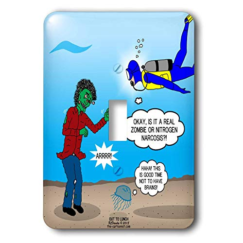 (3dRose Rich Diesslins Funny Out to Lunch Cartoons - Underwater Zombie or SCUBA Diver Nitrogen Narcosis - Light Switch Covers - single toggle switch)