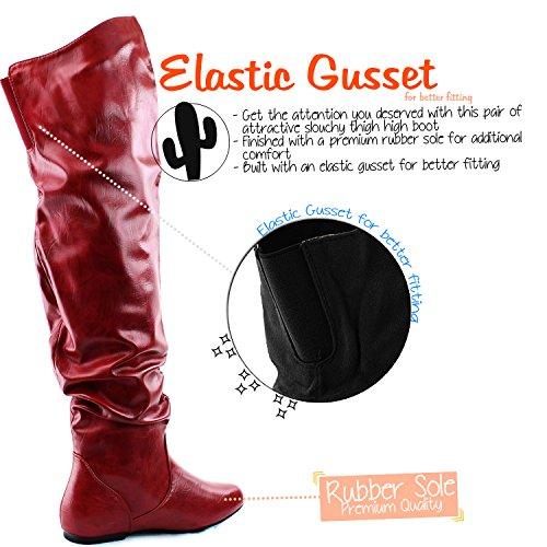 DailyShoes Damenmode-Hi Over-the-Knee Oberschenkel Hohe flache Slouchly Welle Low Heel Stiefel Roter Pu