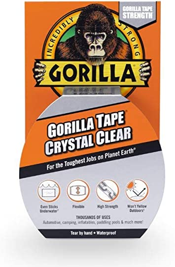 Gorilla Clear Repair 1.88-in x 27 Duct Tape Heavy Duty Crystal Weatherproof
