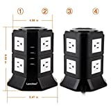 Lanshion Tower Power Strip Surge Protector 1875W 8 Way Outlets 4 USB Ports Charger Charging Station Power Socket with 6.5ft Long Extension Cord, 1000 Joules, UL Listed(Black + White)
