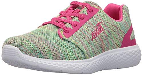 (Avia Girls' Avi-Kismet Running Shoe, Highlighter Lime/Aruba Aqua/Pink Engery, 4 M US Big Kid)