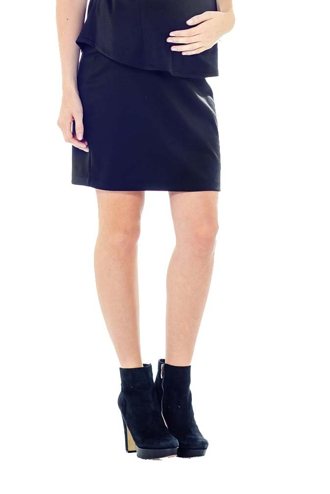 Lilac Pencil Maternity Skirt - Solid - Black - X-Small