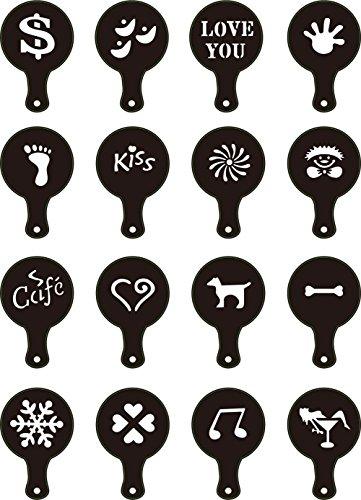 TININNA 16 Stück Cappuccino Schablone Kaffee Schablone Deko Latte Kakaostreuer Dekostreuer Schablone