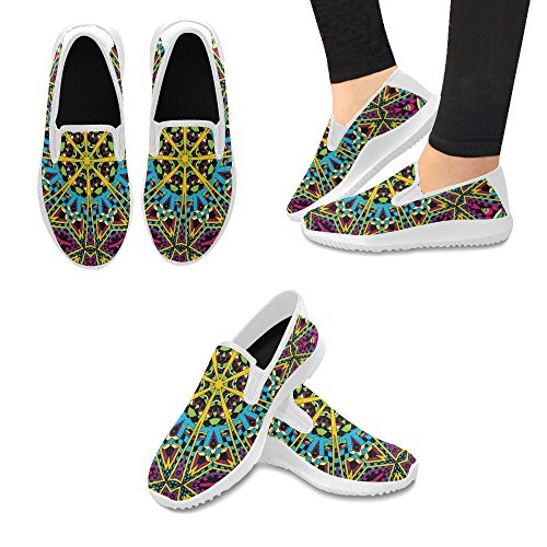 InterestPrint Psychedelic Trippy Hippie 60s Colors Womens Slip-On Loafer Shoes Canvas Fashion Sneakers Multi 1 BpMe7p