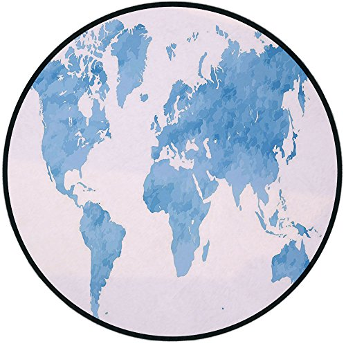 Printing Round Rug,Map,Blue Watercolor Style World Map Artistic Pastel Colored Display of Continents Decorative Mat Non-Slip Soft Entrance Mat Door Floor Rug Area Rug For Chair Living Room,Light Blue