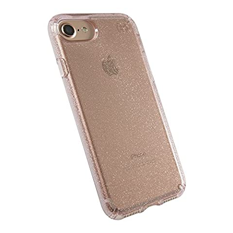 Speck Products Presidio Clear + Glitter Cell Phone Case for iPhone 7, iPhone 6/6S - Gold Glitter/Rose Pink (Iphone 6 Speck Clear Case)