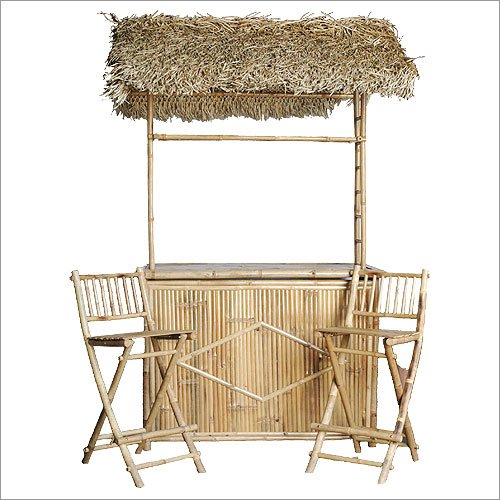 Bamboo Bar with Thatched Roof and Two Bar Stools Set by Bamboo